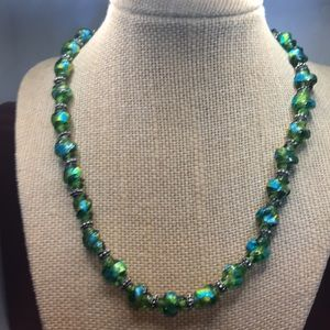 Funky green & blue glass bead necklace